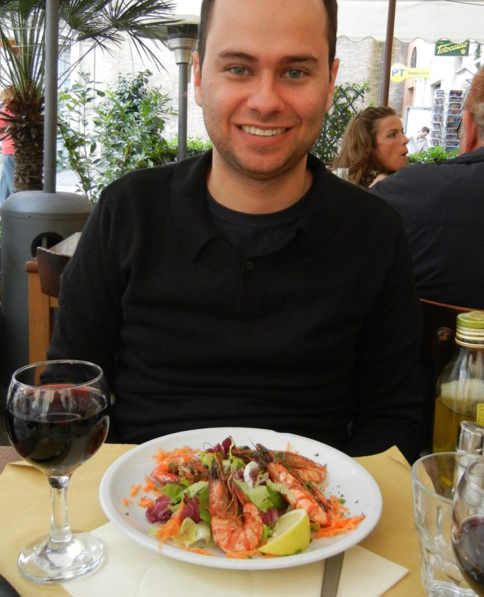 Ótimos camarões na região de Trastevere, em Roma